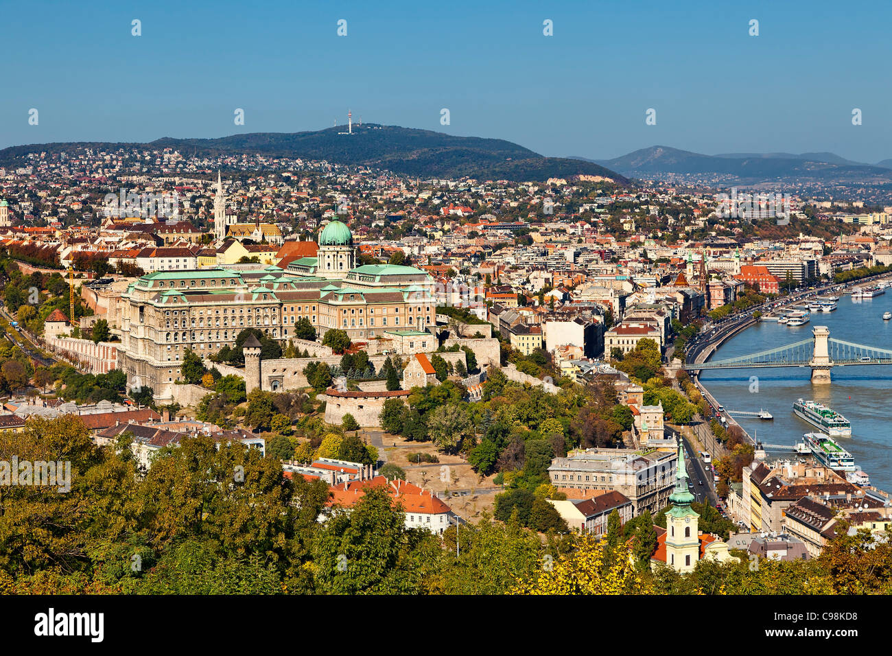 Budapest, Royal Palace and Matthias Church, View from Gellert Hill - Stock Image