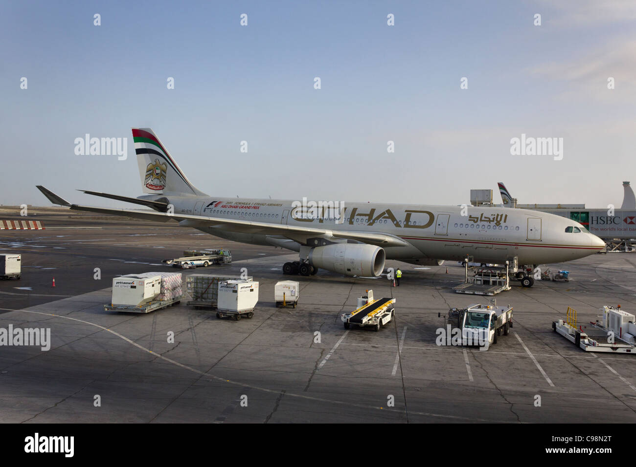 Airbus A330-200 Etihad airways plane at Terminal 1, Abu Dhabi airport, United Arab Emirates - Stock Image