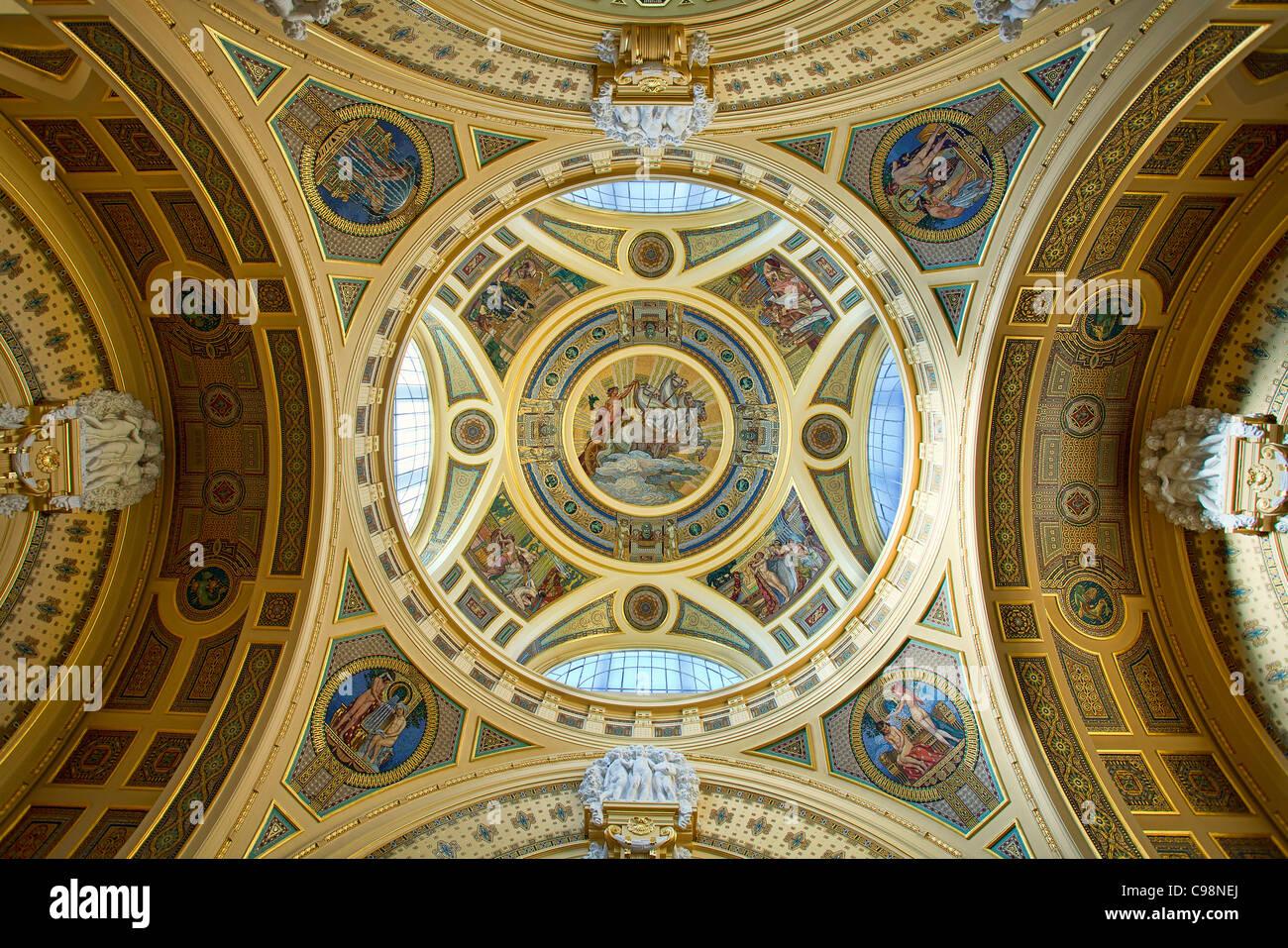 Budapest, Ceiling of Szechenyi Baths Main Hall - Stock Image