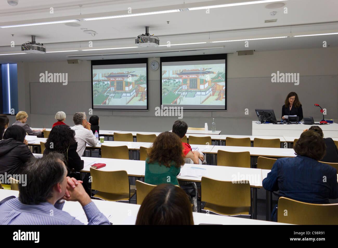 scholar presenting paper at a conference, Sydney University, Australia - Stock Image