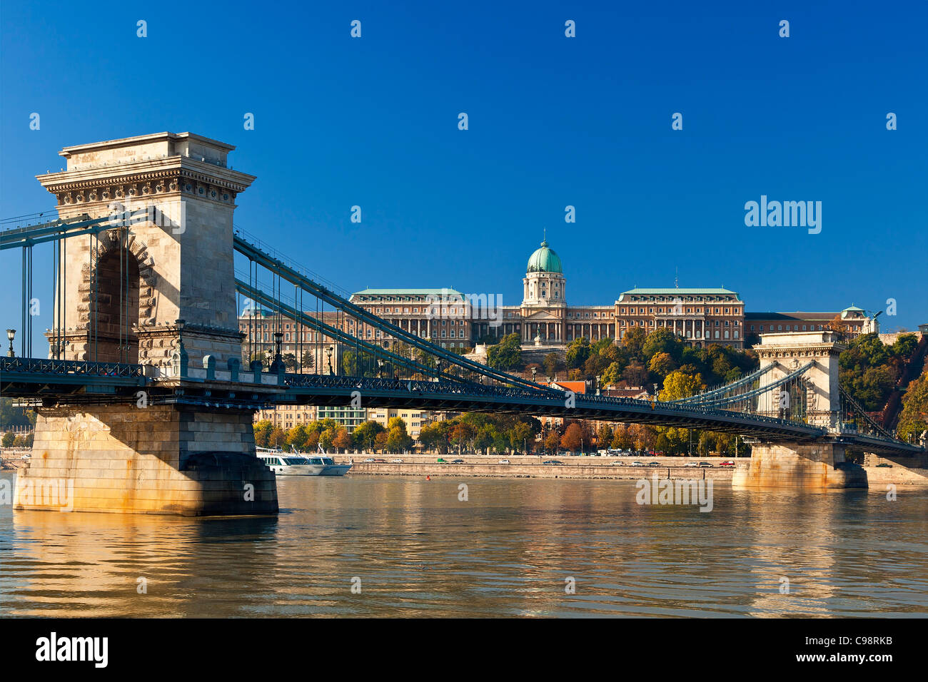 Budapest, Chain Bridge over Danube River and Royal Palace - Stock Image