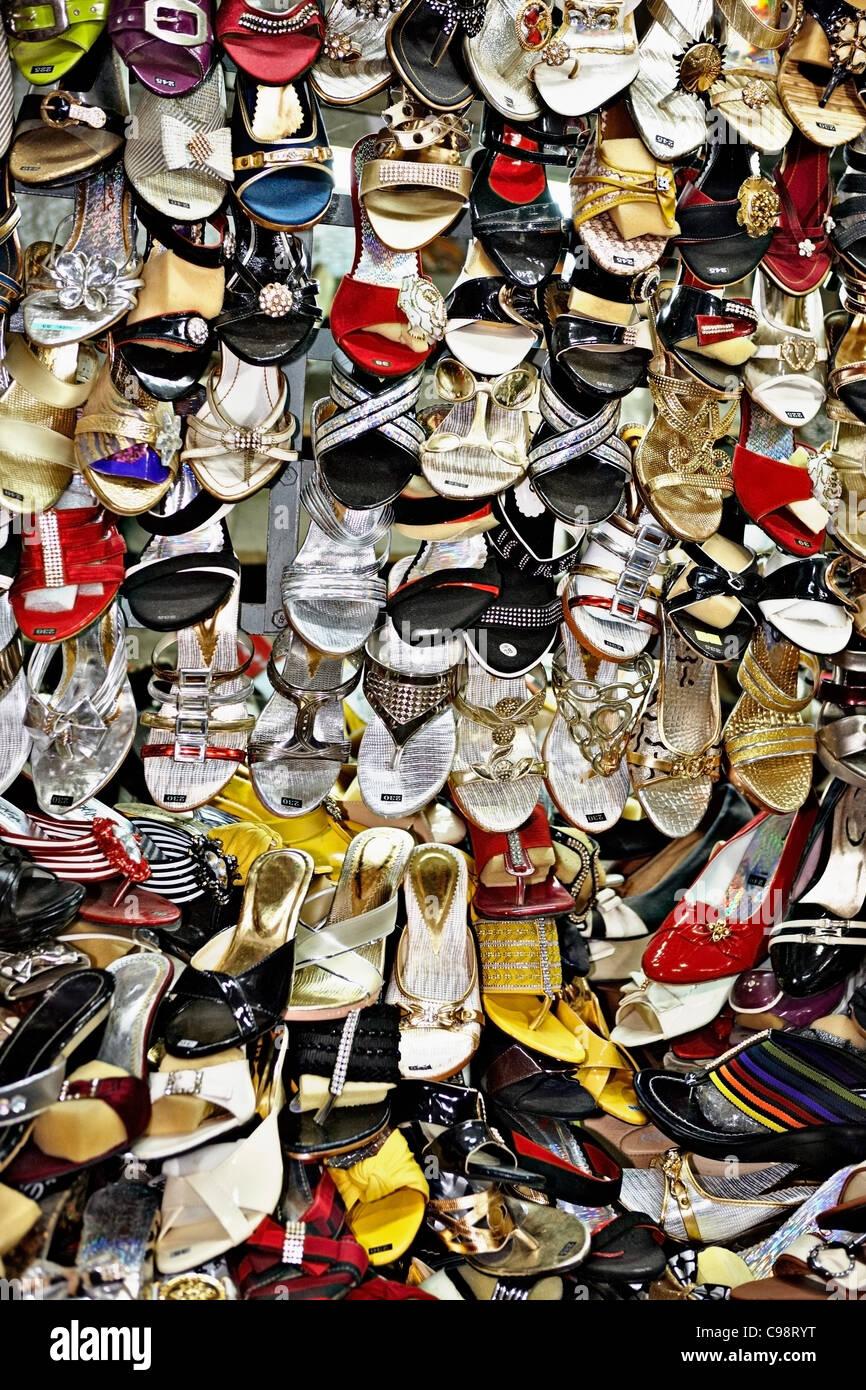 Womens shoes for sale market, Hue, Vietnam - Stock Image