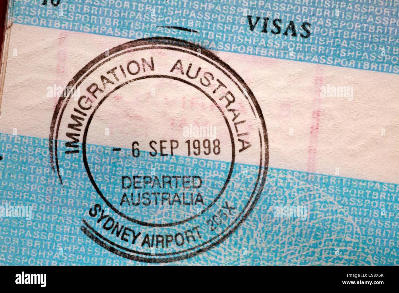 Immigration Australia Sydney Airport stamp in British passport Stock Photo