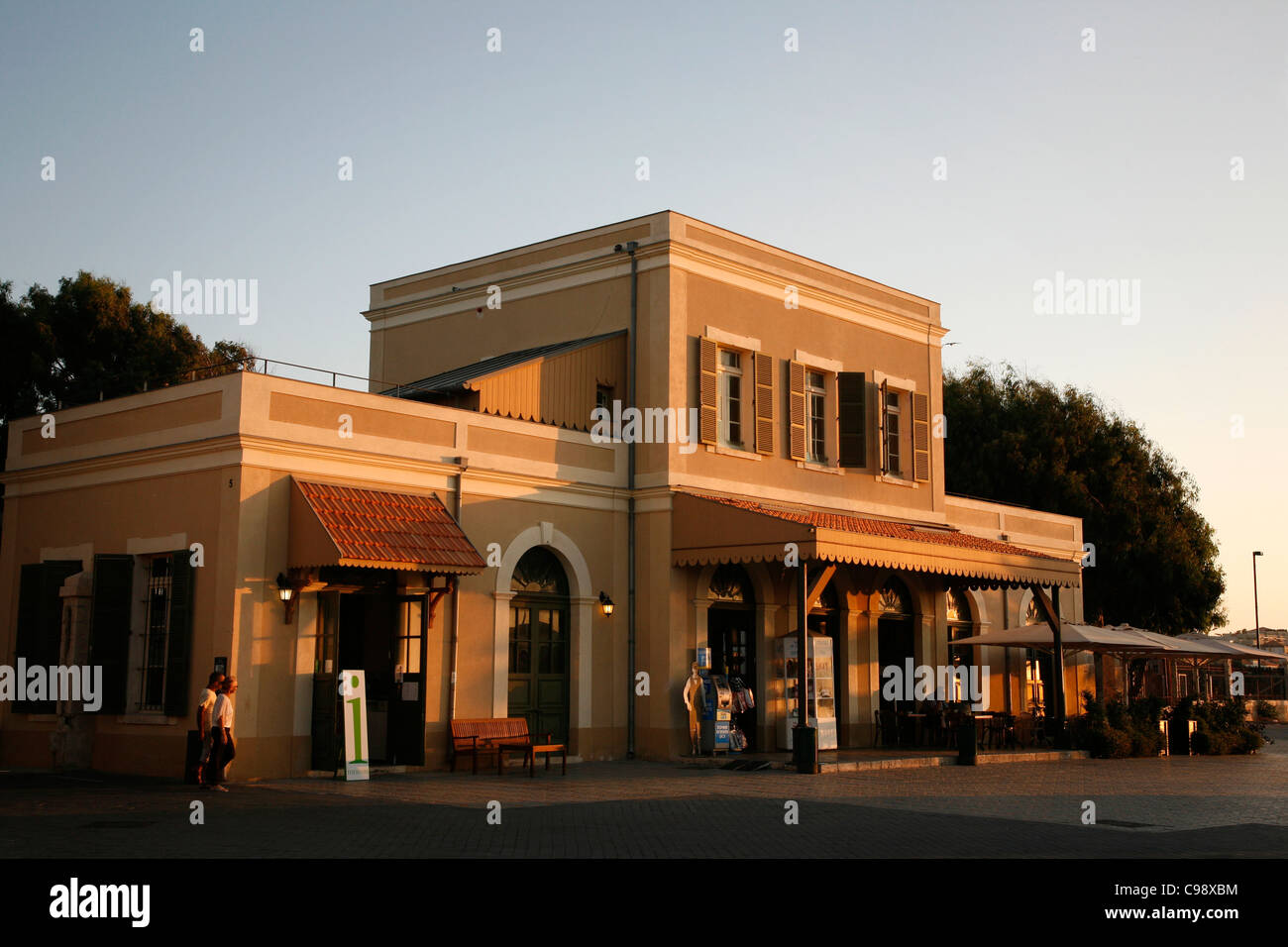 Hatachana marketplace, a former Ottoman train station in Neve Tzedek, now popular place with shops and restaurants, - Stock Image