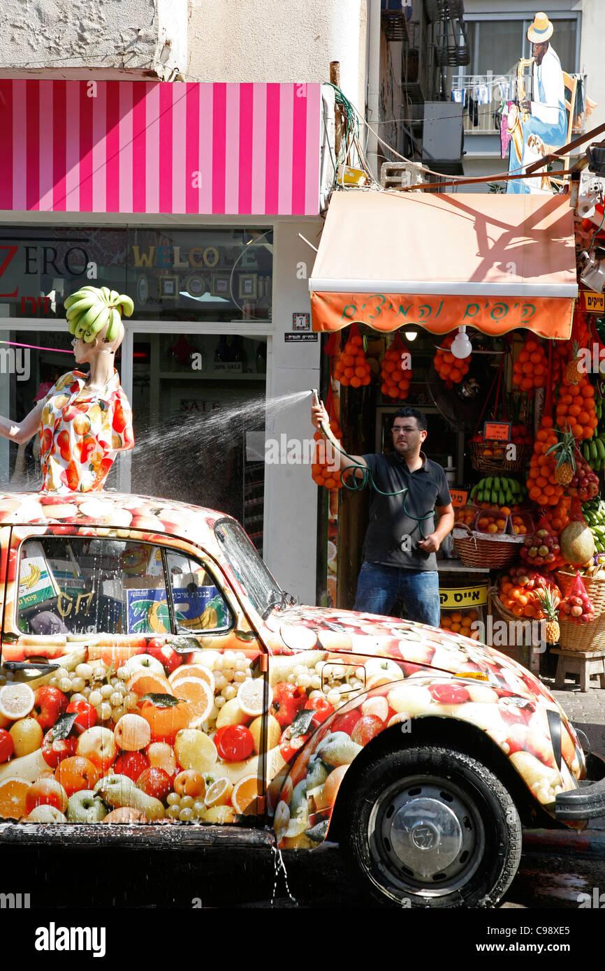 Fruits juices stall, Sheinkin street, Tel Aviv, Israel. - Stock Image