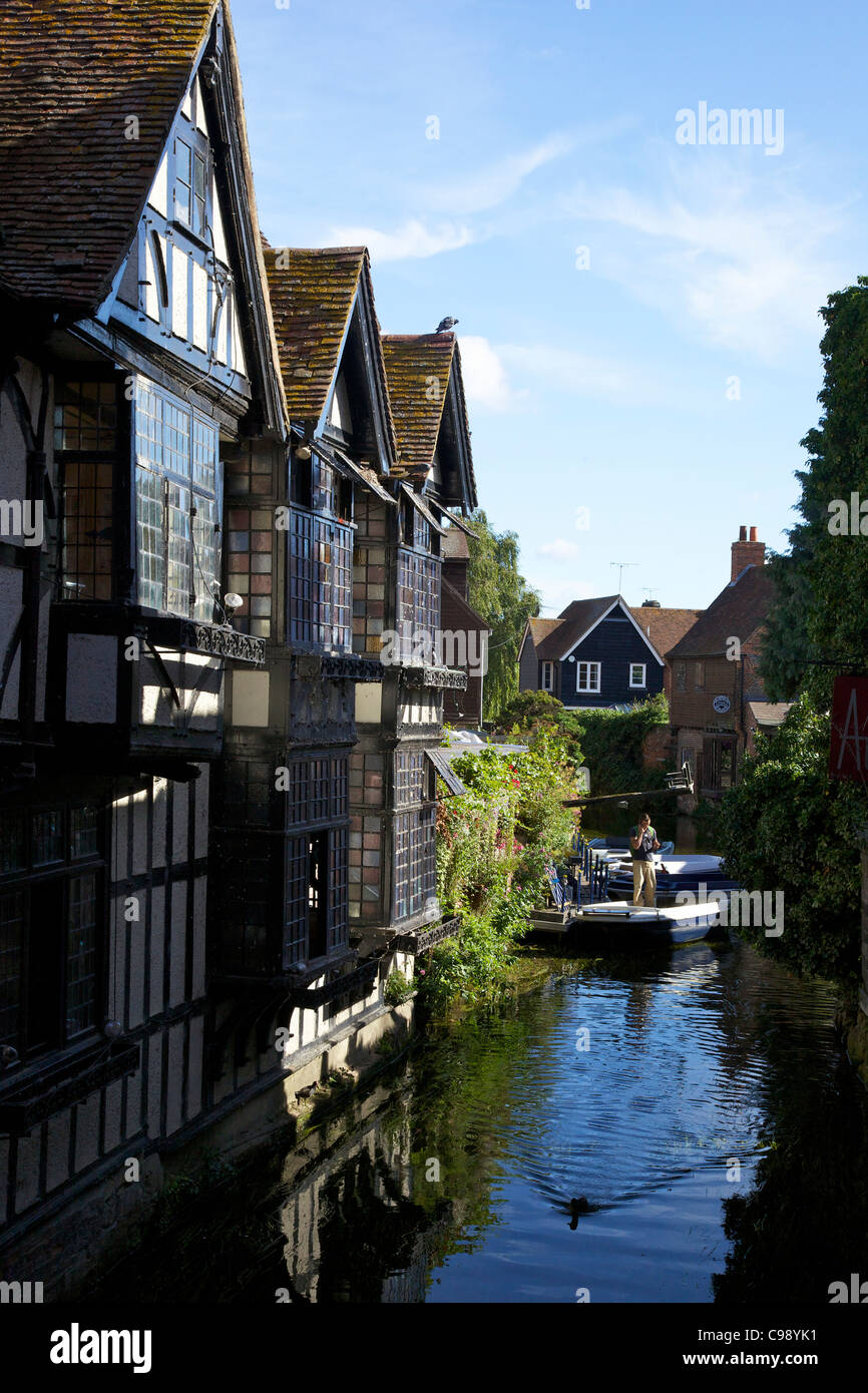 The Old Weavers House and branch of the River Stour with rowing boats Canterbury, Kent, England, UK, United Kingdom, - Stock Image