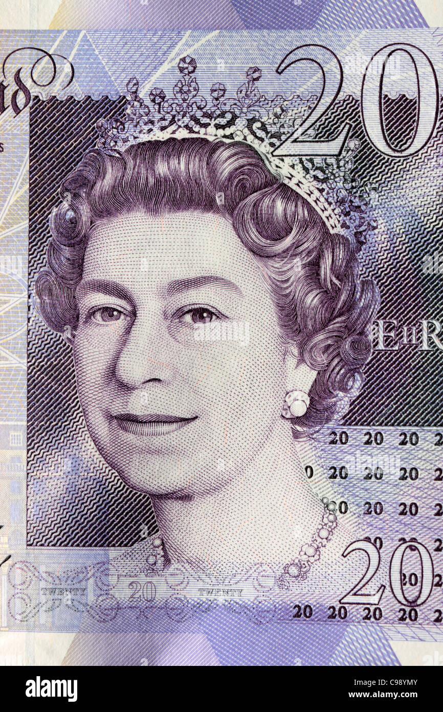 £20 Note Close Up showing the queens head - Stock Image
