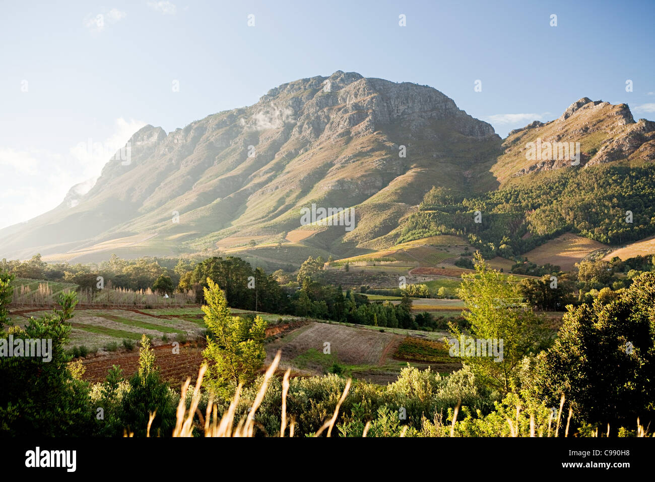 Stellenbosch Mountain, view from Hells Heights Pass, South Africa - Stock Image