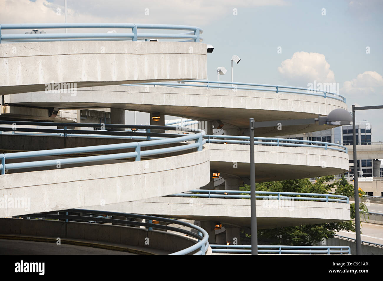 Curved ramp of parking lot - Stock Image