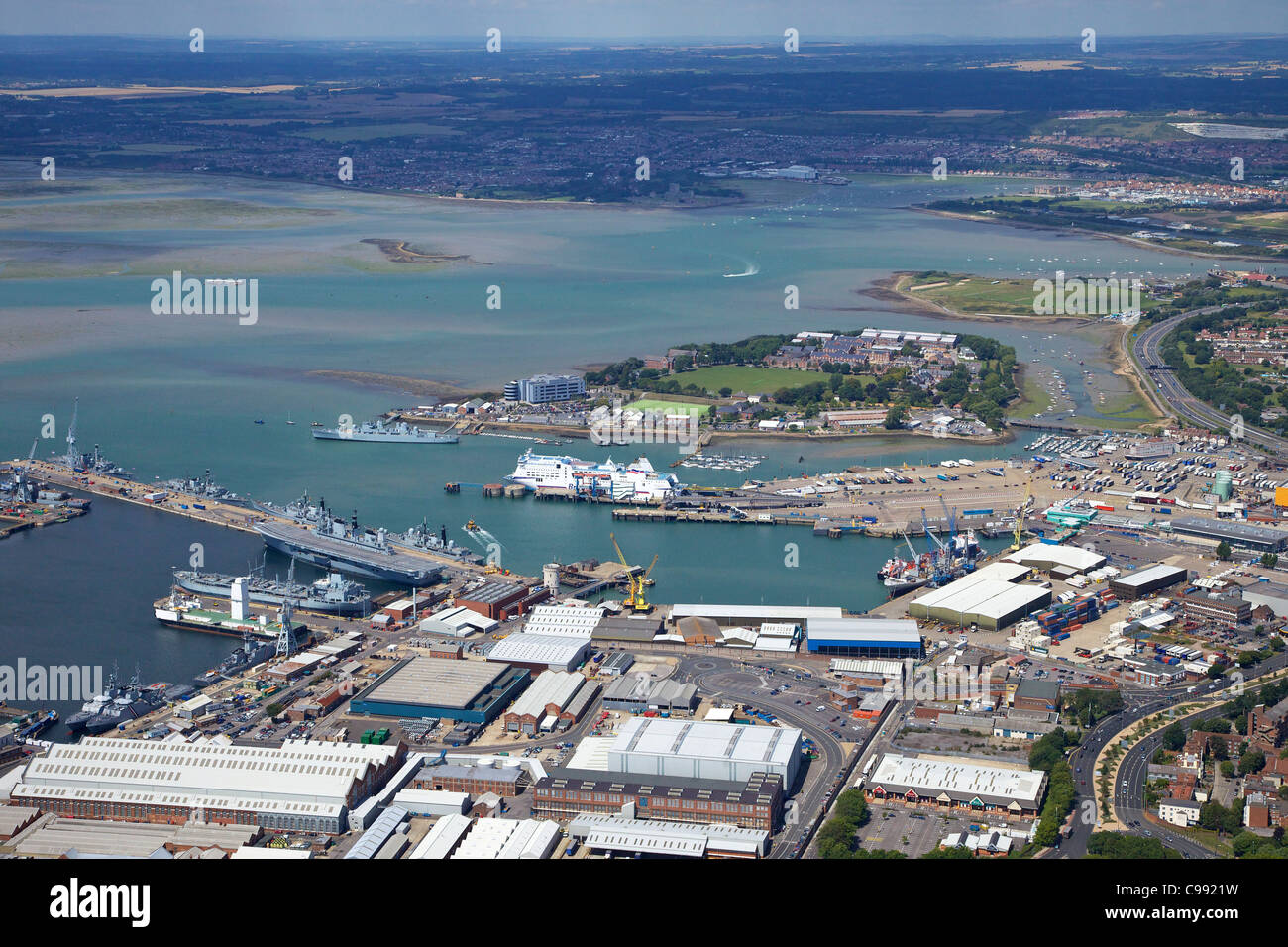 Aerial photo of 	HMNB Portsmouth, Solent, south coast, Hampshire, England, UK, United Kingdom, GB, Great Britain, - Stock Image