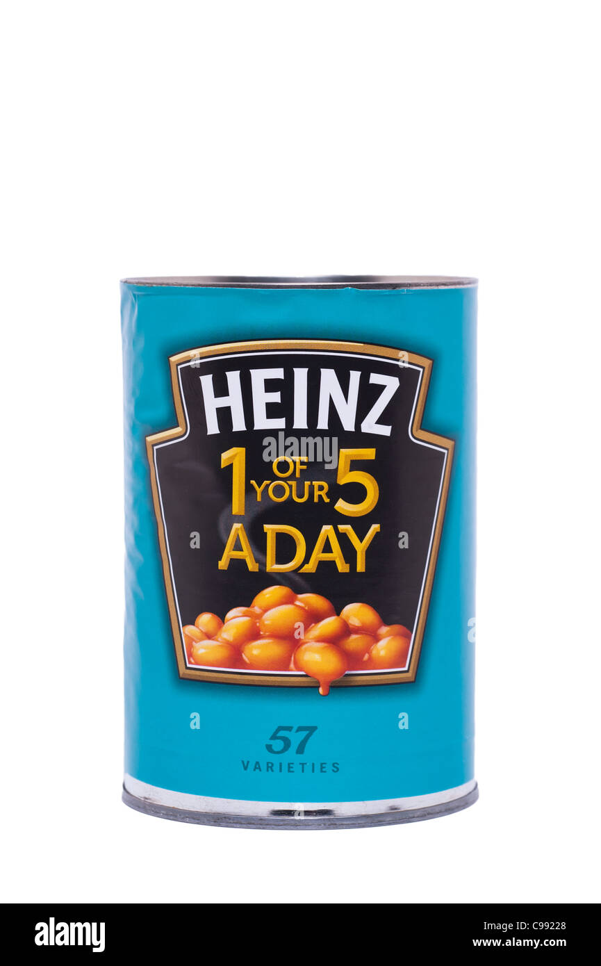 A tin of Heinz baked beans in tomato sauce on a white background - Stock Image