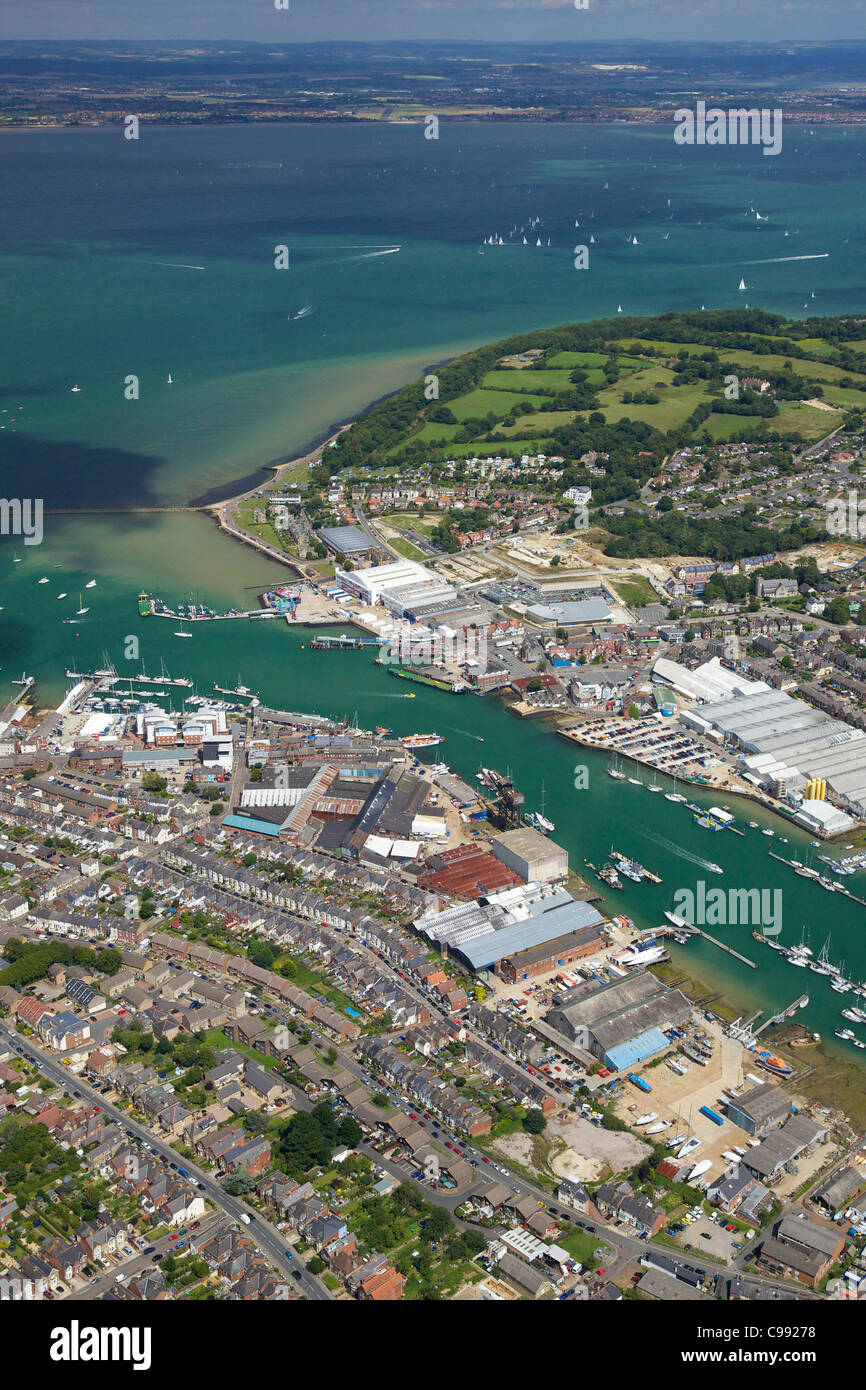 Aerial photo of Cowes and the Solent, Isle of Wight, Hampshire, England, UK, United Kingdom, GB, Great Britain, - Stock Image
