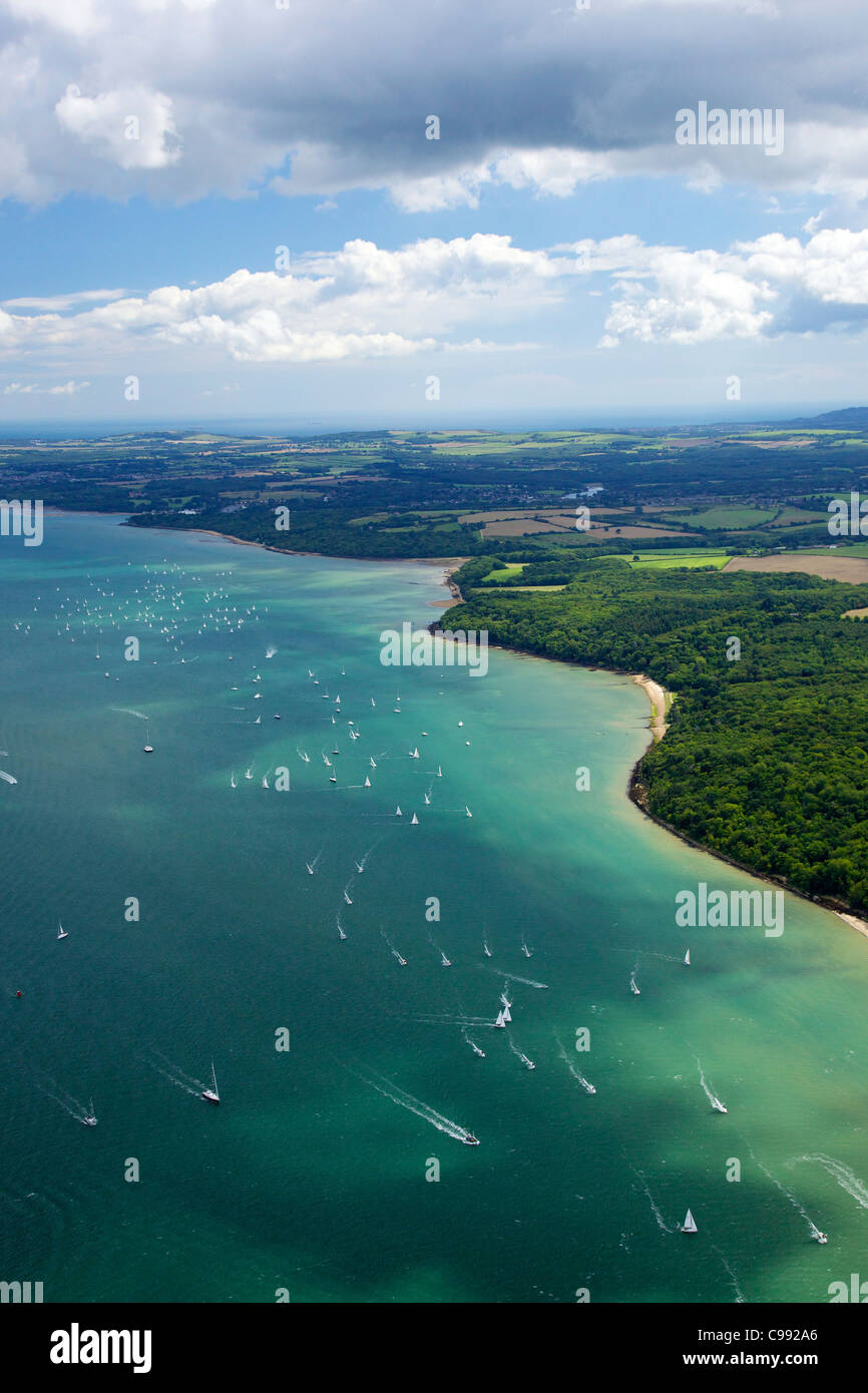 Aerial photo of  yachts racing in Cowes Week on the Solent, Isle of Wight, Hampshire, England, UK, United Kingdom, - Stock Image