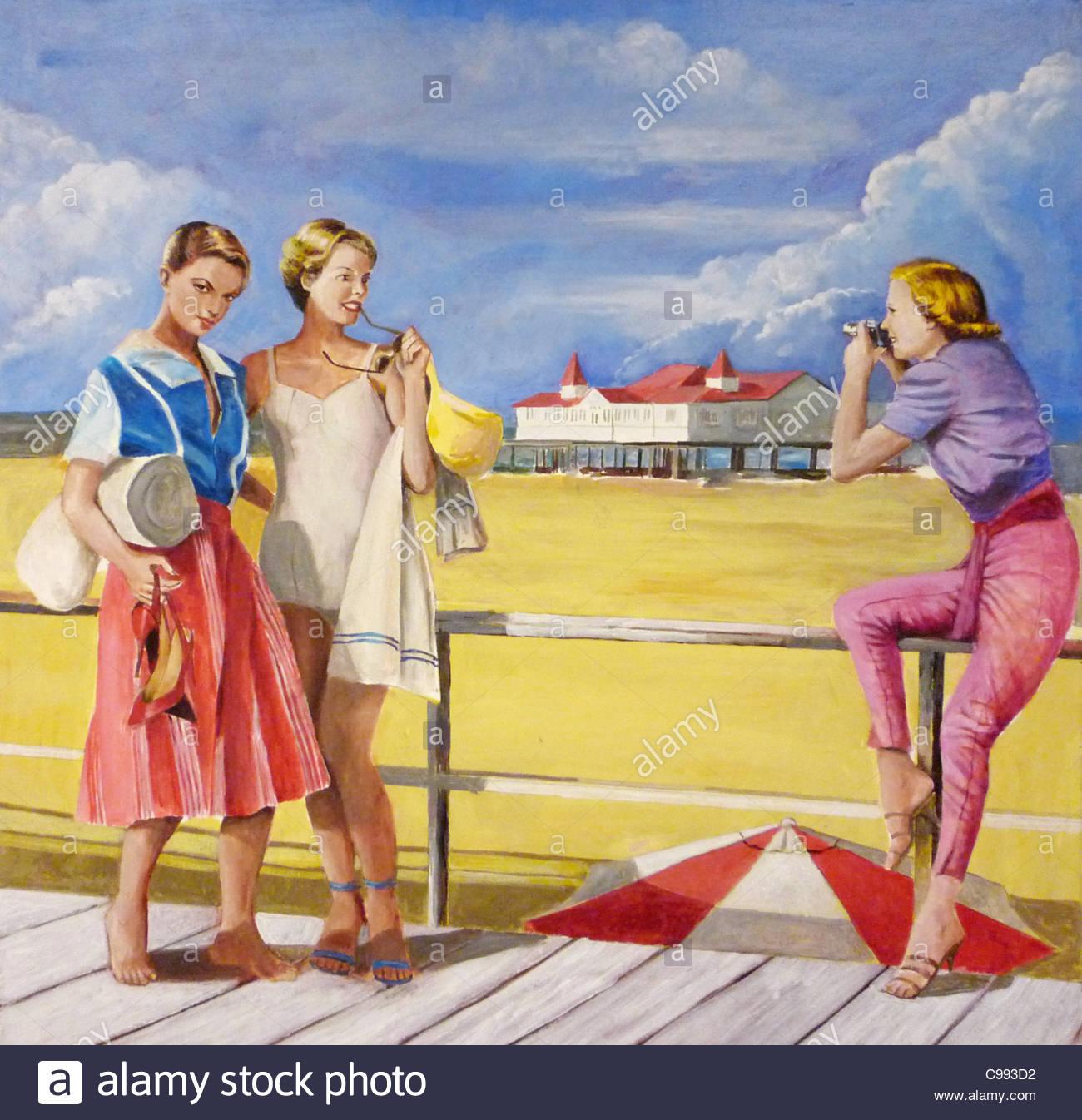 50's Years Girls on beach Summer - Stock Image
