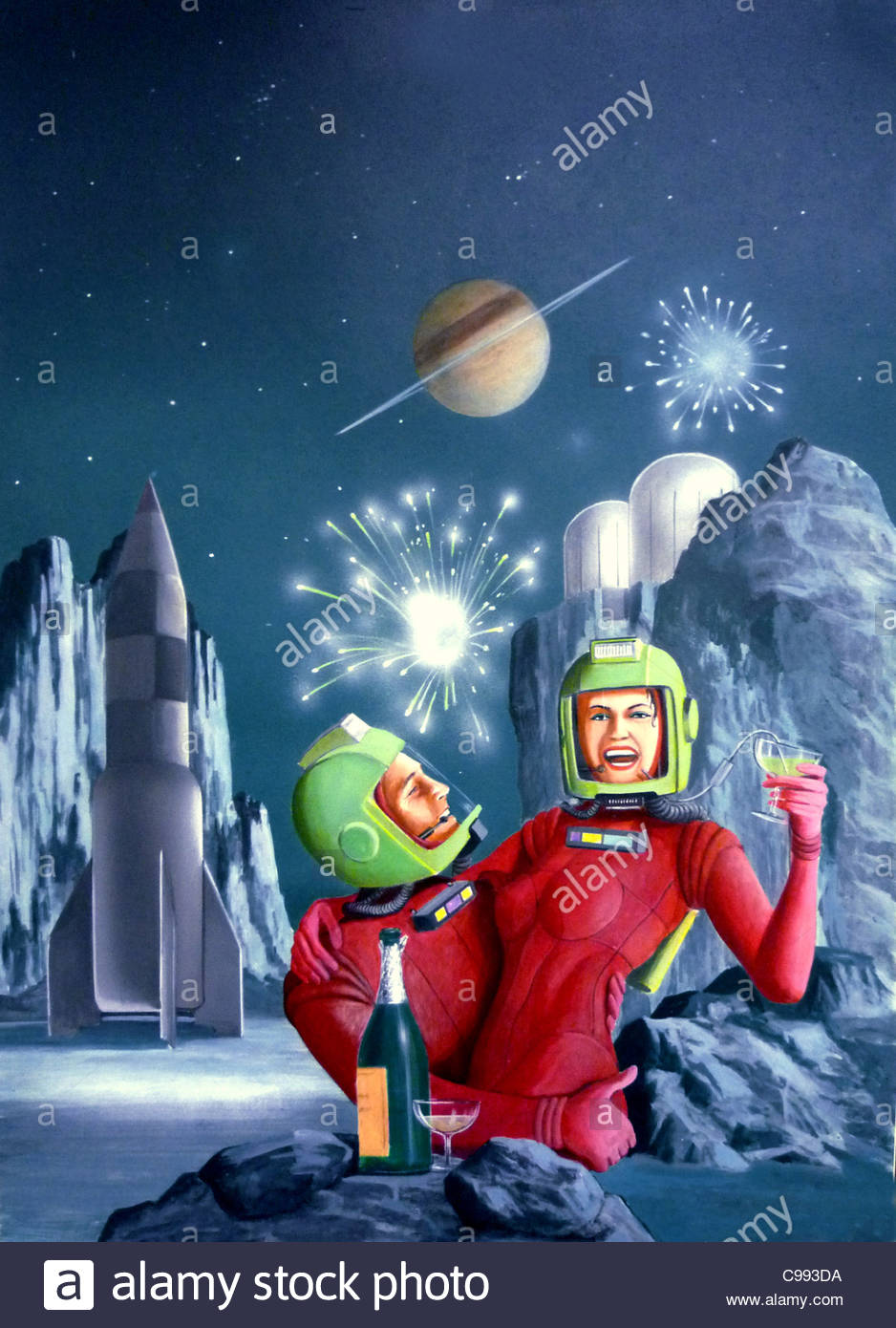 foreign Planet conquest Champagne astronauts Space universe Planet planet u - Stock Image