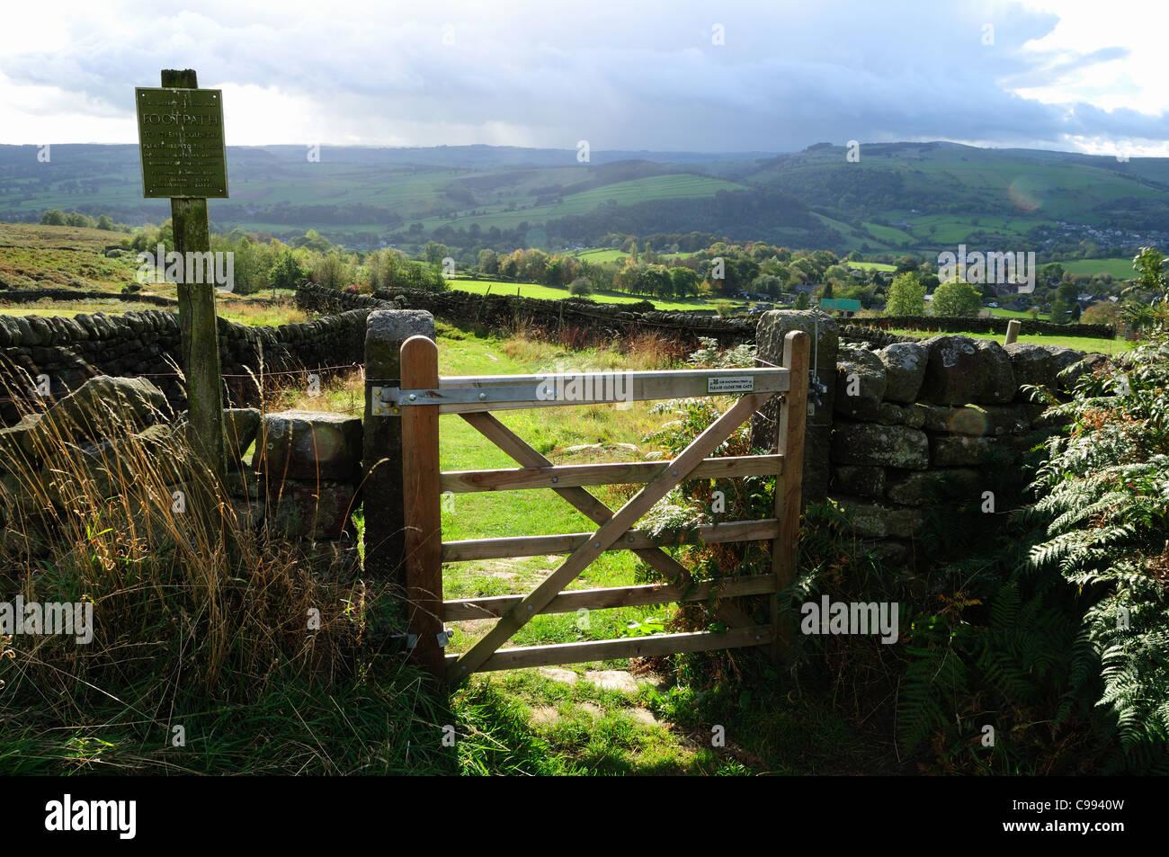 Curbar Edge Dark Peak Derbyshire England. - Stock Image