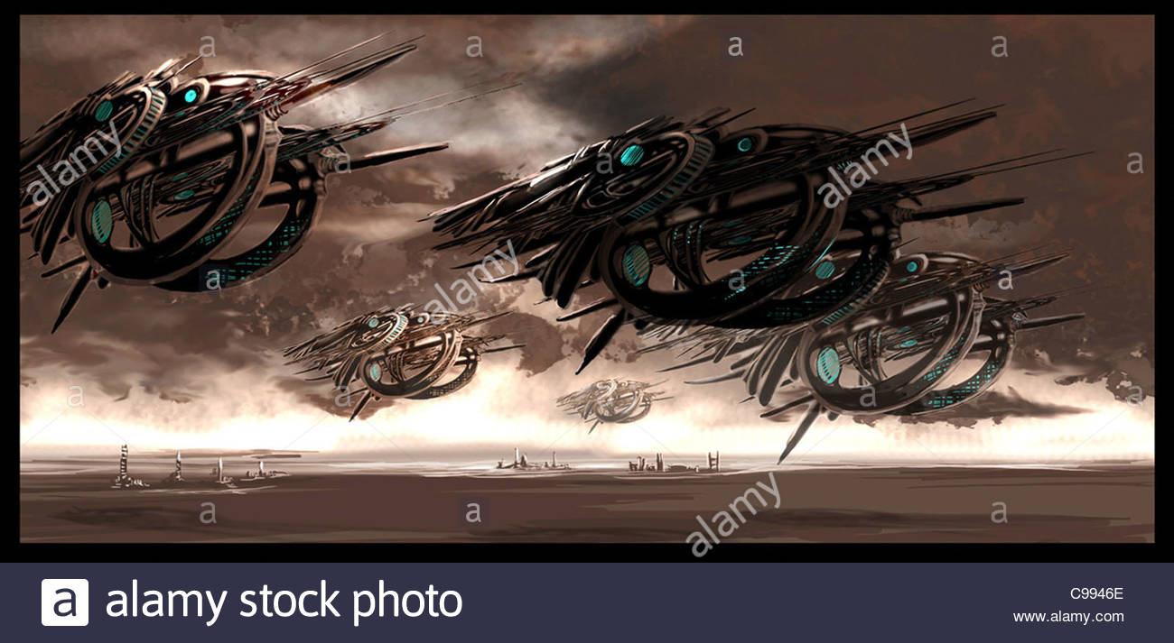 unknown Flying objects Spaceships Fantasy Aliens allien Aliens UFO UFOs mar - Stock Image