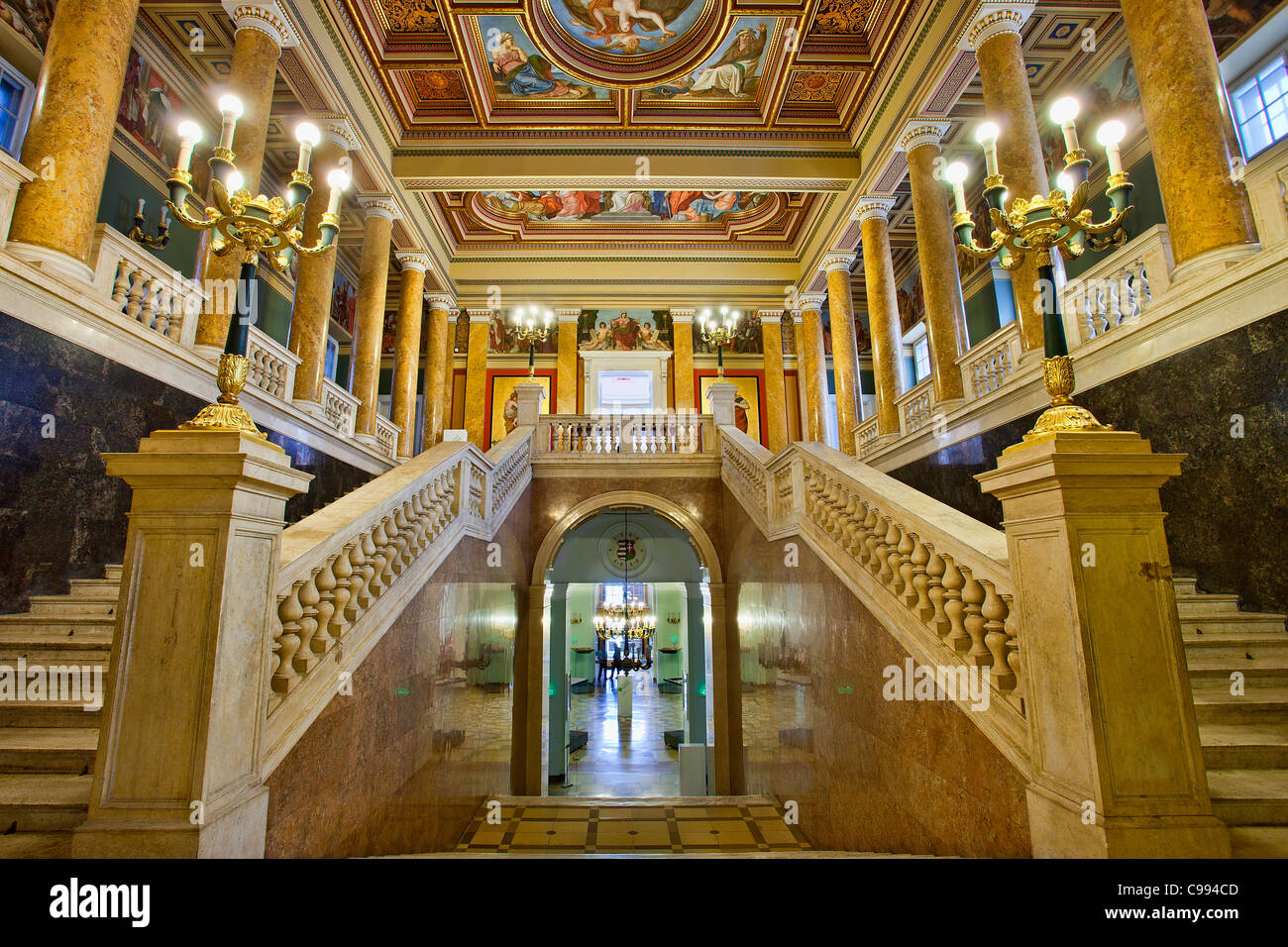 Budapest, Hungarian National Museum, The Stairway - Stock Image