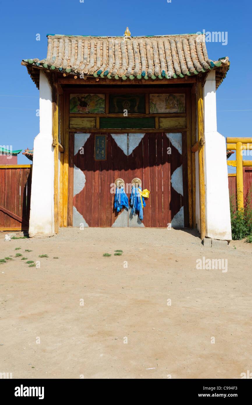 Entrance of Shankh monastery (khiid), Mongolia - Stock Image