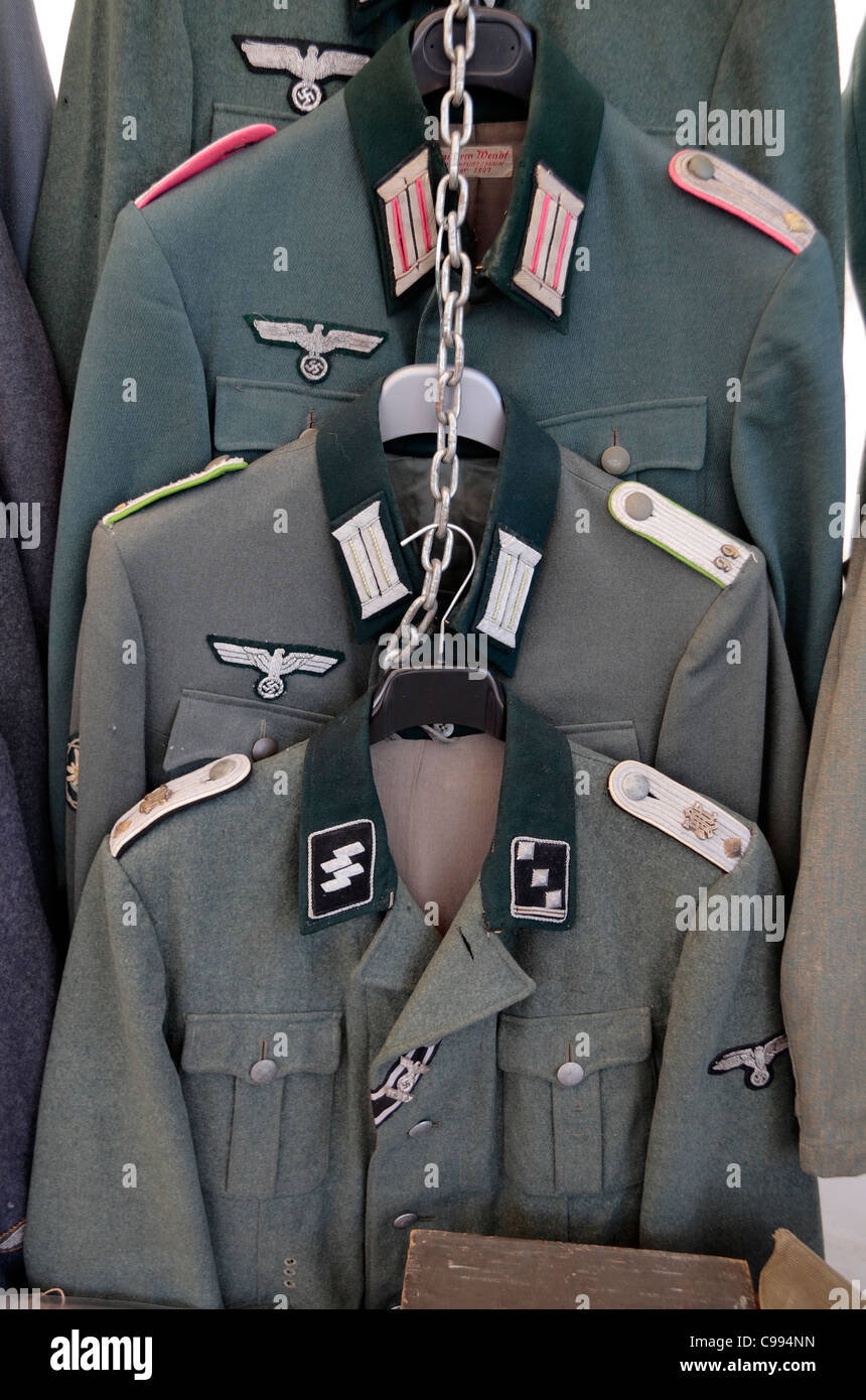 German army & SS uniforms from World War Two for sale at the 2011 War & Peace Show at Hop Farm, Paddock - Stock Image