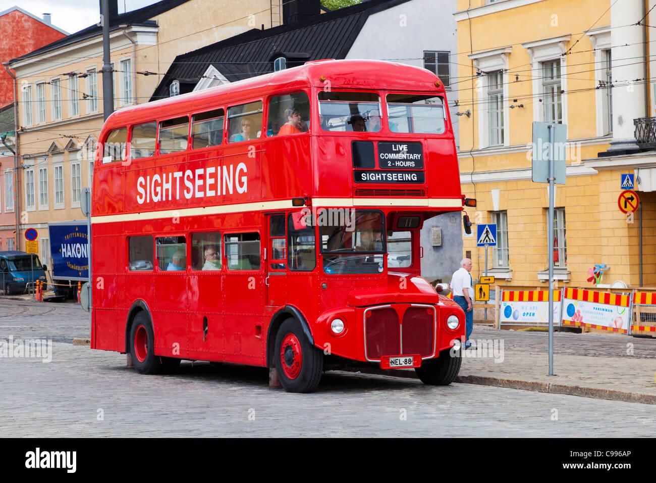 London Transport AEC Routemaster RM626 (NEL 88) at Senate Square Helsinki Finland - Stock Image