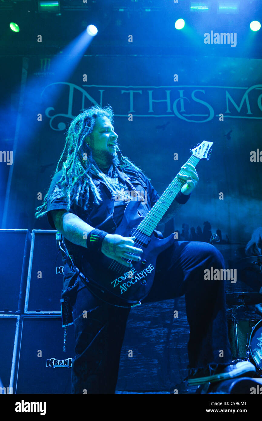 Guitarist Chris Howorth of In This Moment performs on stage at Portland Memorial Coliseum, Portland, Oregon, USA - Stock Image