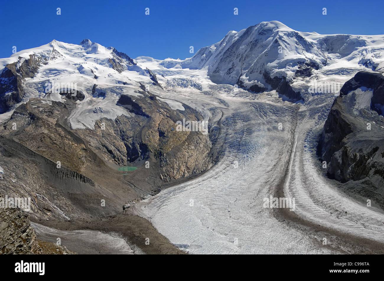 The Grenzgletscher Glacier seen from Gornergrat, the final stop on the mountain railway from Zermatt, Valais canton, - Stock Image