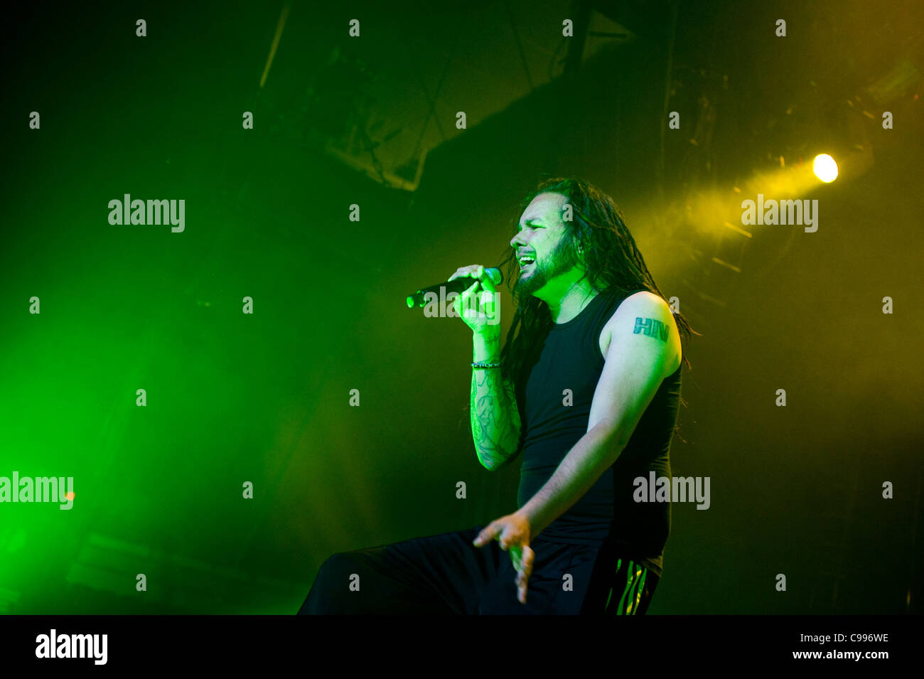 Korn perform on stage at Portland Memorial Coliseum in Portland, Oregon, USA  on the Music As A Weapon Tour on 3/15/2011. - Stock Image