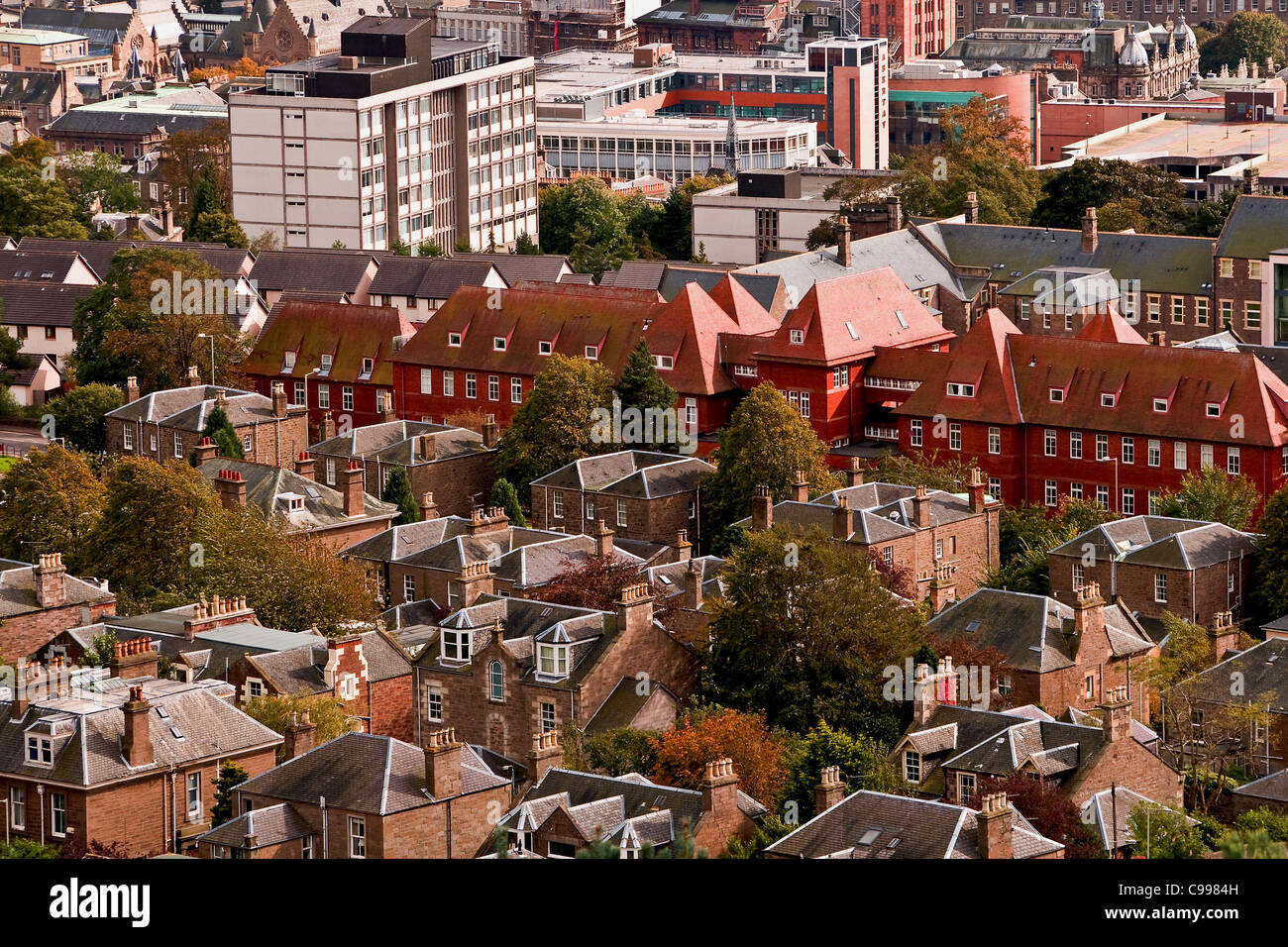 View of the famous red brick building formerly DRI Dundee Royal Infirmary now modern residential apartments,UK Stock Photo