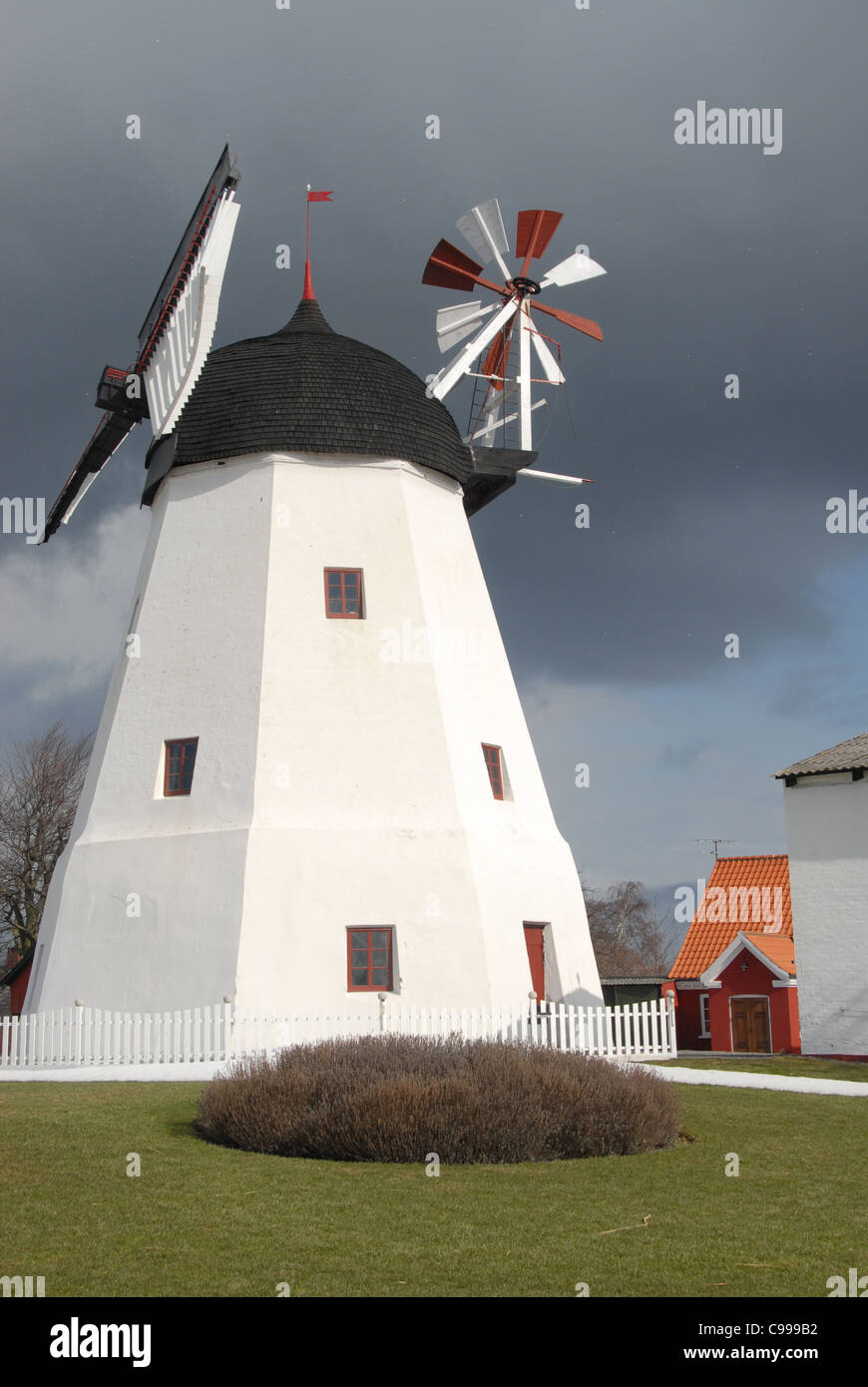 The mill of Aarsdale at the east coast of Denmark's Baltic Sea island Bornholm Stock Photo