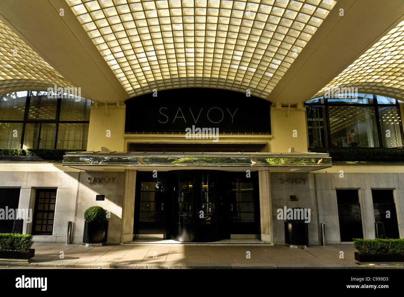 The entrance to the refurbished Savoy Hotel in London - Stock Image