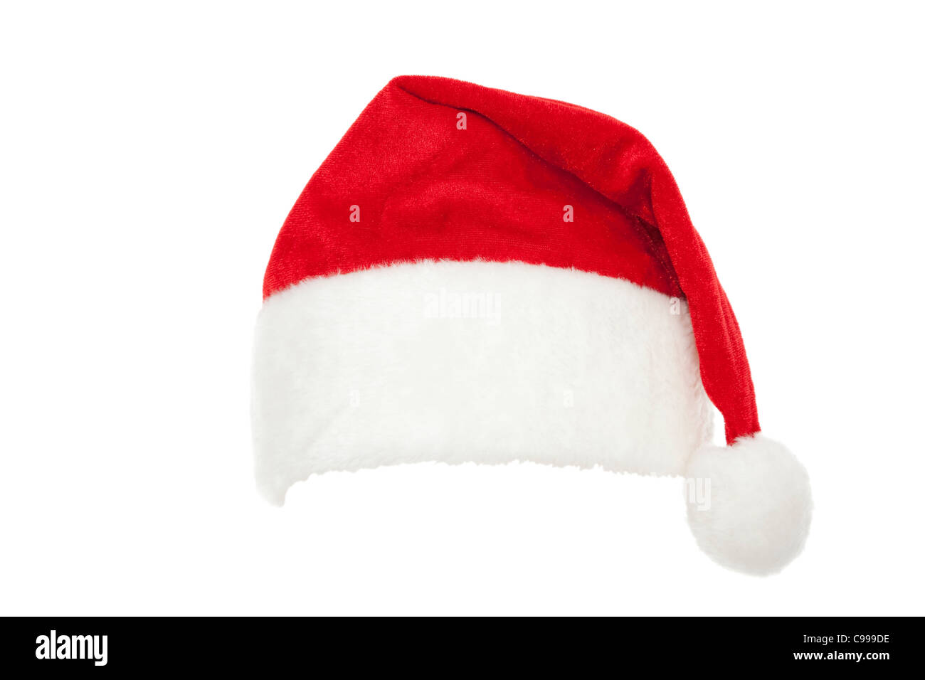 red cap Santa Claus on white background - Stock Image