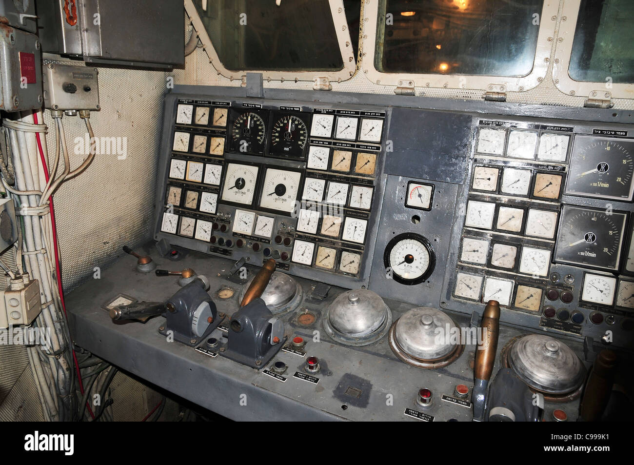 Israel, Haifa, The Clandestine Immigration and Navy Museum Interior of the Israeli Navy Missile boat INS Mivtach - Stock Image