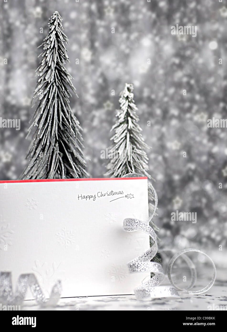 Happy holiday Christmas card background with blur lights, decoration & ornament - Stock Image