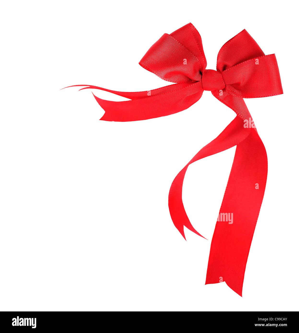 Beautiful red ribbon & bow, holiday border isolated on white background Stock Photo
