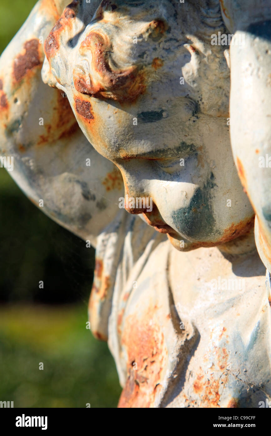 Angelic boy garden statue close up - Stock Image