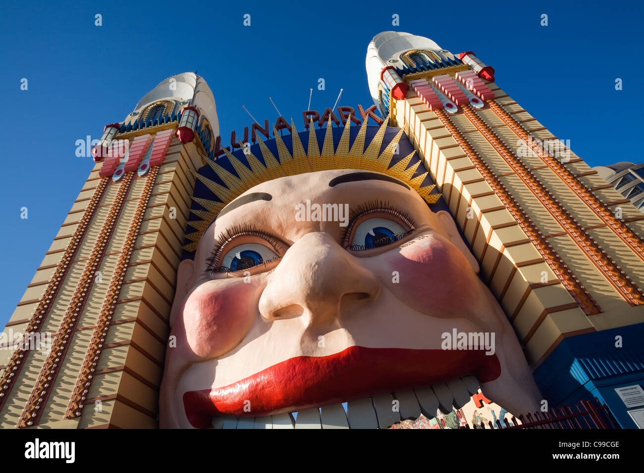 The smiling face entrance of Luna Park at Milson's Point.  Sydney, New South Wales, Australia - Stock Image