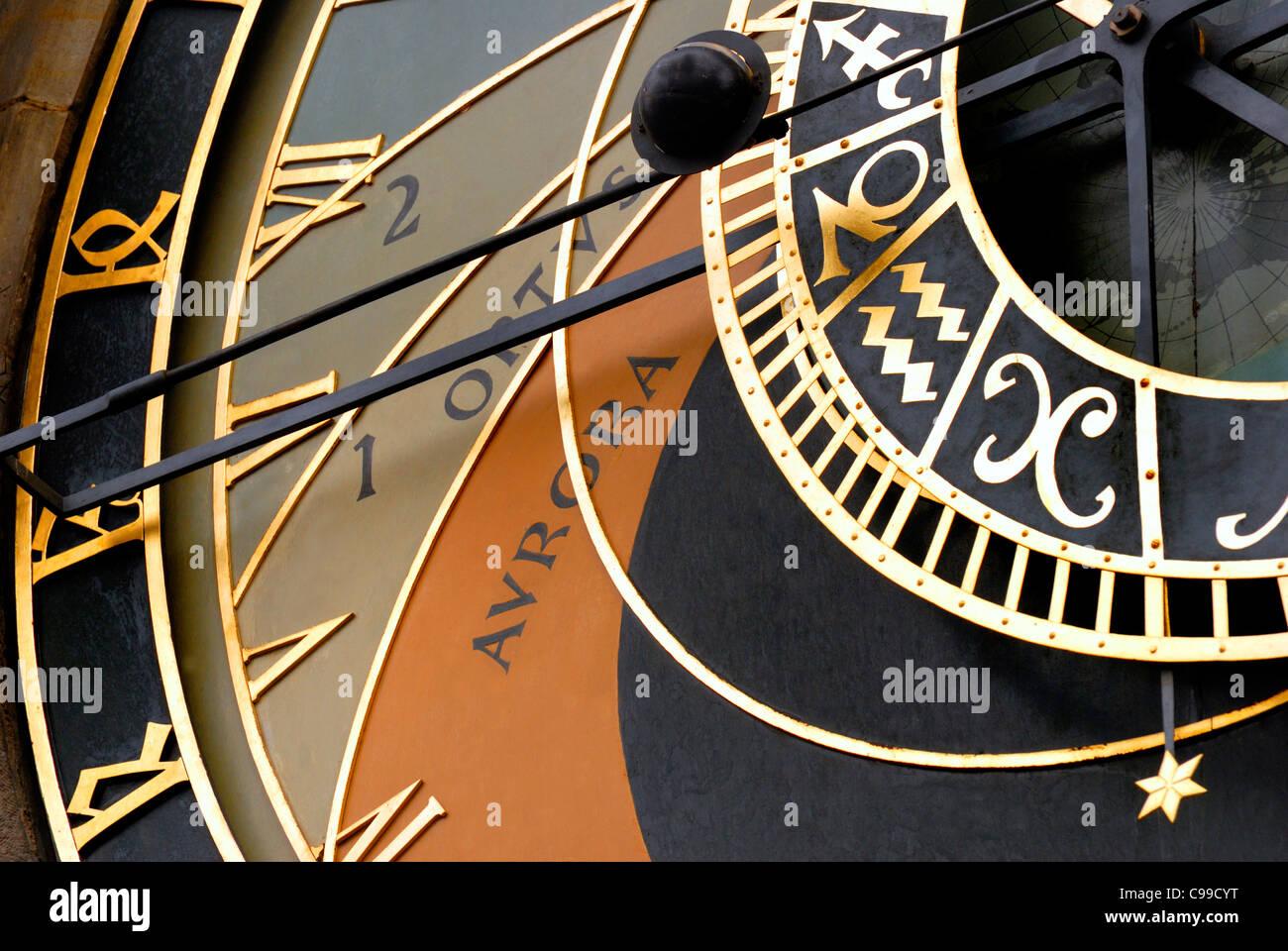 Prague, Czech Republic. Astronomical Clock (1410) in Old Town Square / Staromestske namesti - Stock Image