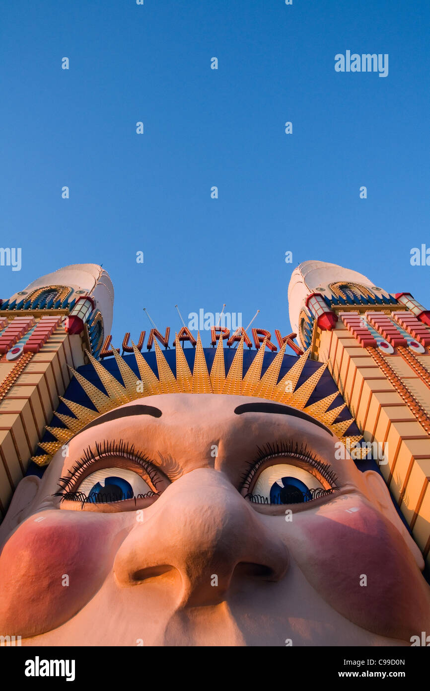 The Smiling face entrance at Luna Park on Sydney's North Shore. Sydney, New South Wales, Australia - Stock Image