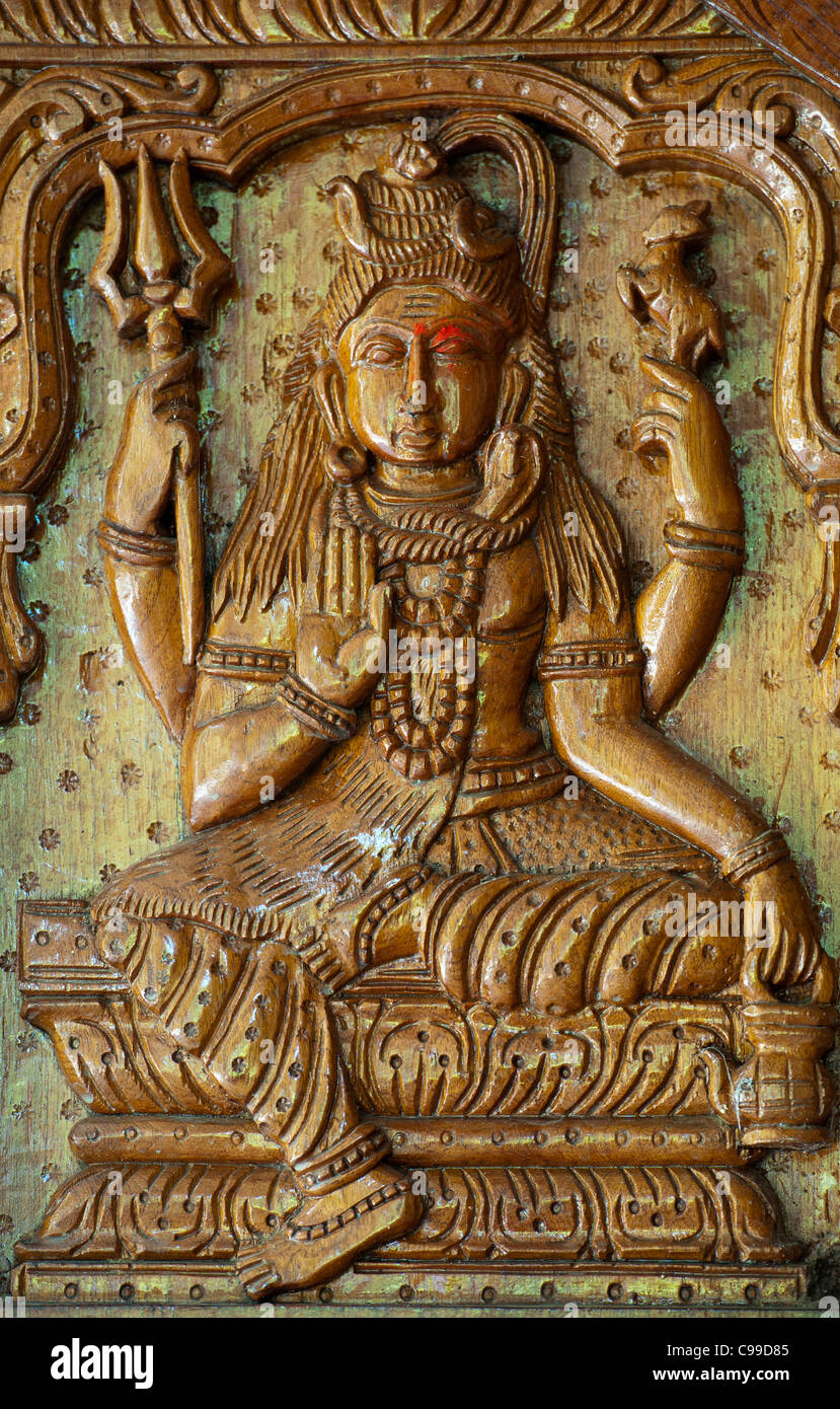 Wood carving of indian god stock photos & wood carving of indian god