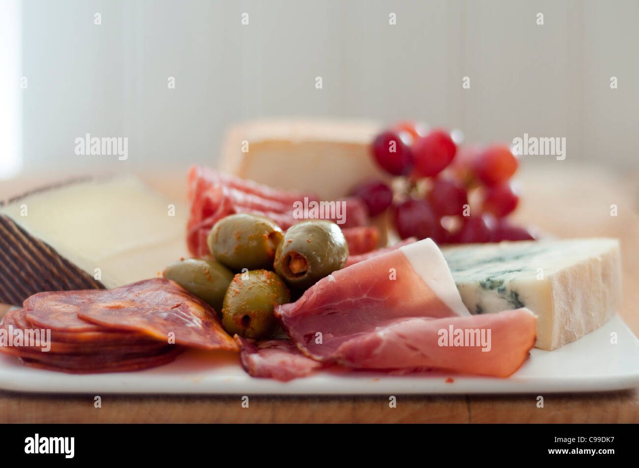 Small Antipasti Platter Of Mostly Italian Cheeses And Meats With Stock Photo Alamy