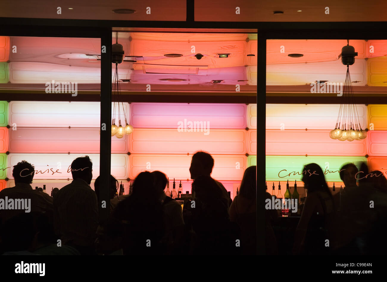 Nightlife at the Cruise Bar at Circular Quay. The Rocks, Sydney, New South Wales, Australia - Stock Image