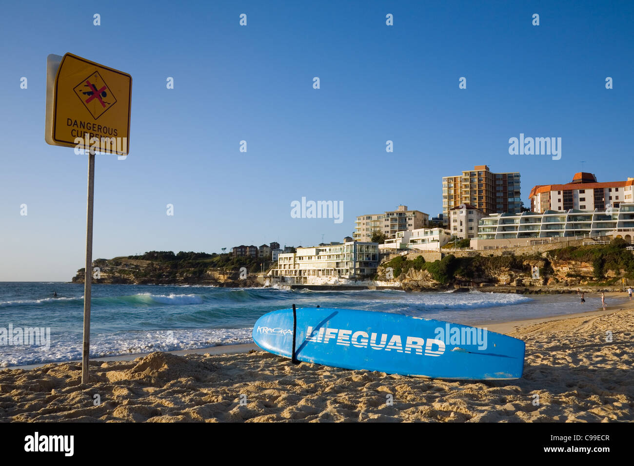 Lifeguard rescue board on the sands of Bondi Beach. Sydney, New South Wales, Australia - Stock Image