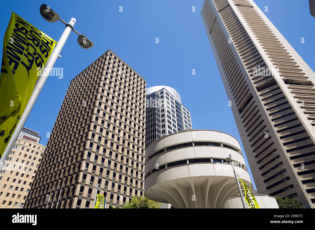 Modern architecture of Sydney's central business district including the MLC Centre. Sydney, New South Wales, - Stock Image