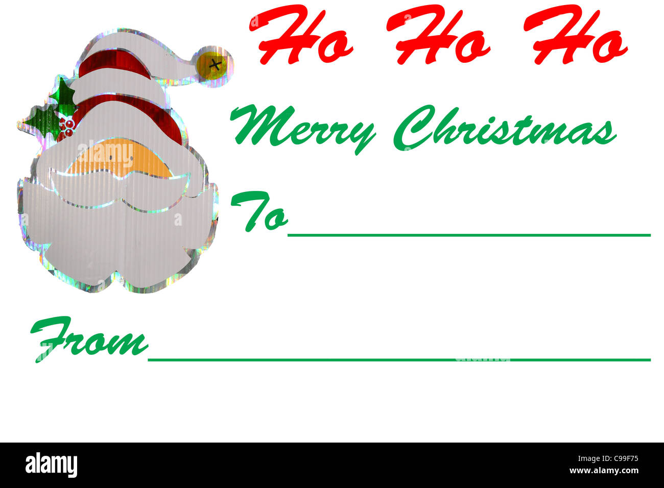 a santa merry christmas gift tag design isolated on white with room