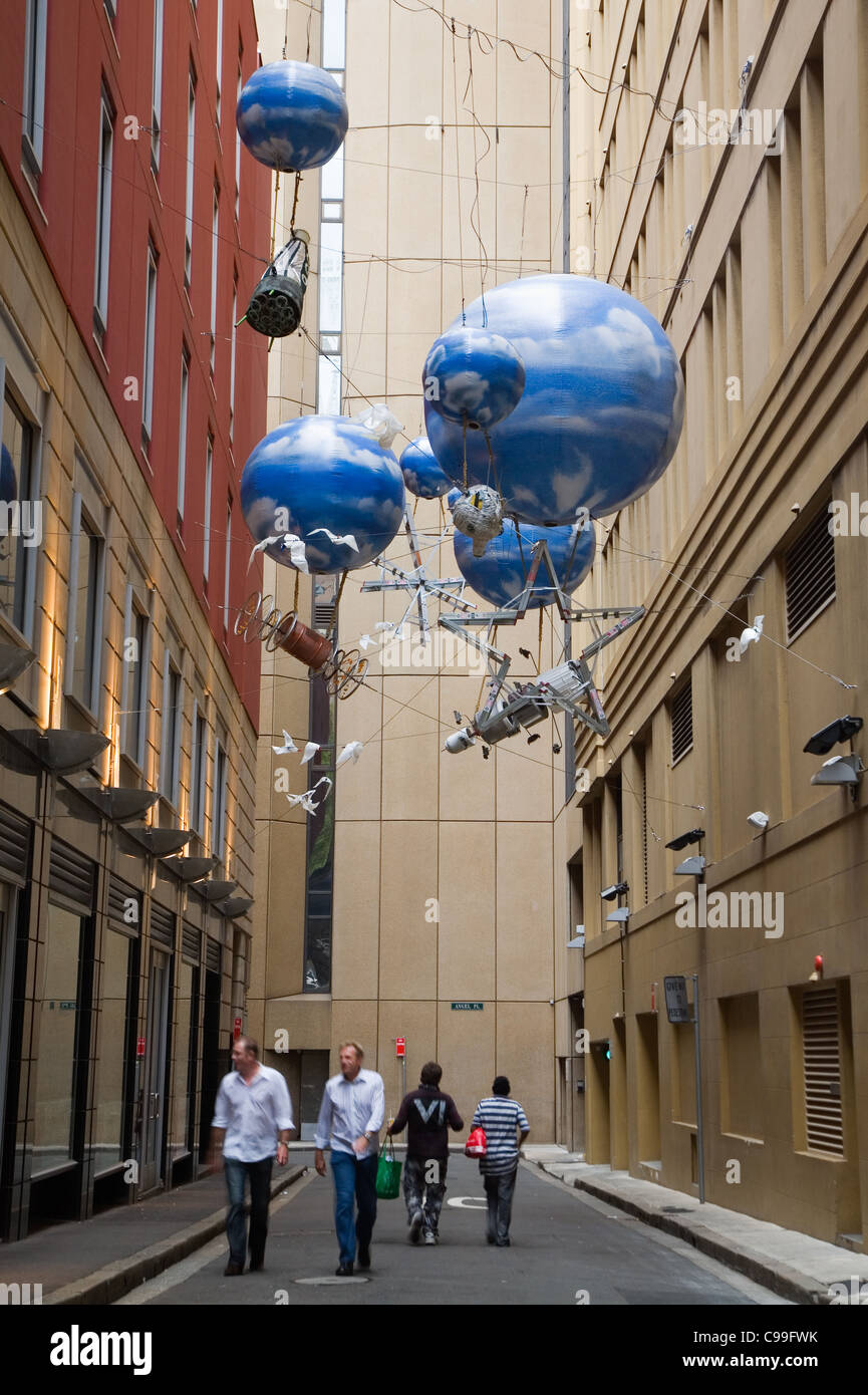 Urban art in Sydney's laneways in Angel Place. Sydney, New South Wales, Australia - Stock Image