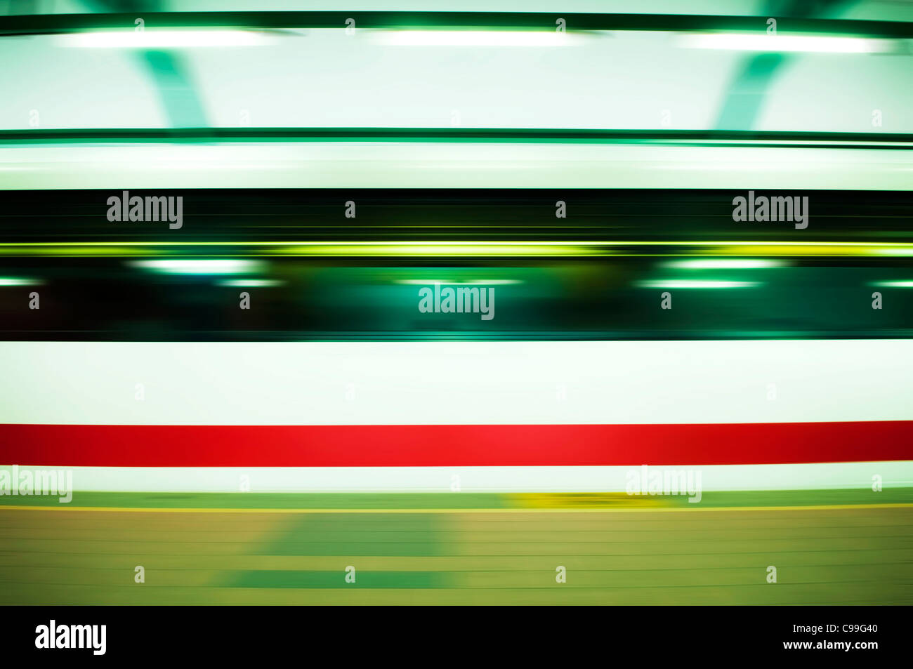 Panning on a moving fast train. - Stock Image