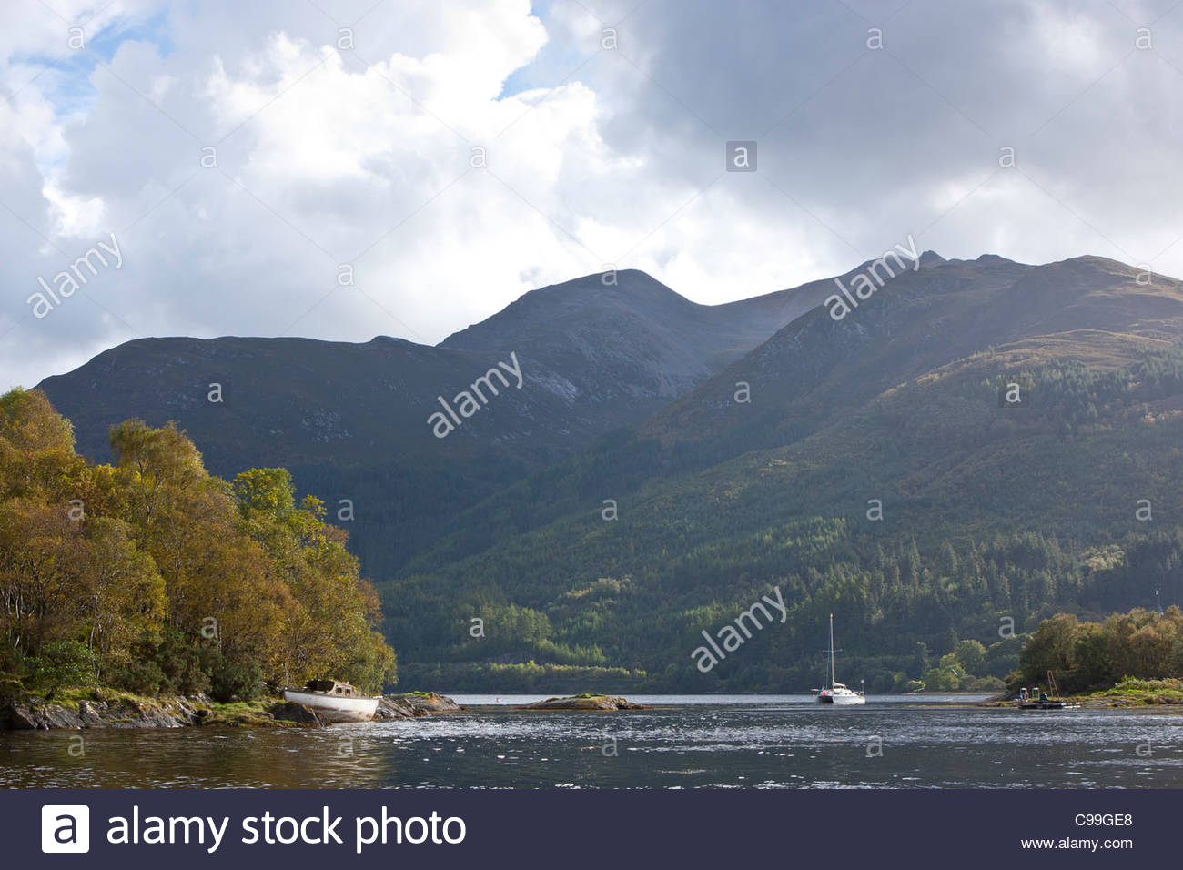 Yachts at rest, Loch Leven, Argyll, Scotland - Stock Image