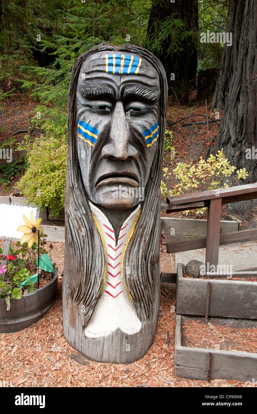 California Redwoods Redwood wooden sculpture statue United States of America Stock Photo