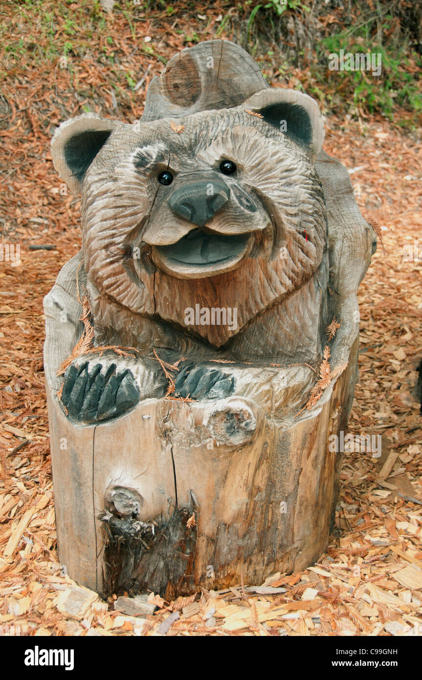 California Redwoods Redwood wooden sculpture statue United States of America - Stock Image